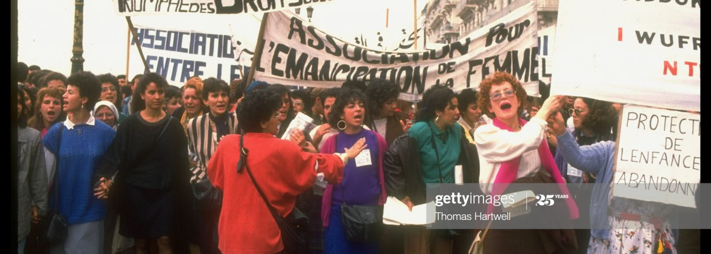 Banner holding feminists calling for democracy & repeal of family law protesting during Women's Day march.  (Photo by Thomas Hartwell/The LIFE Images Collection via Getty Images/Getty Images)